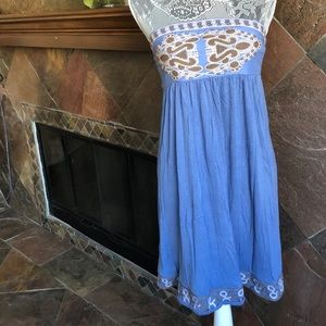 Blue Strapless Dress Size Small